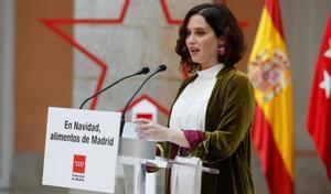 GRAF5612  MADRID  15 12 2020 - La presidenta de la Comunidad de Madrid  Isabel Diaz Ayuso  firma un protocolo general de actuacion con las grandes superficies de distribucion para promocionar el consumo de alimentos de Madrid en Navidad  EFE  J j  Guillen
