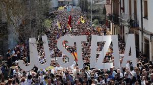 Una vista general de la manifestación de este domingo en el municipio navarro de Alsasua.