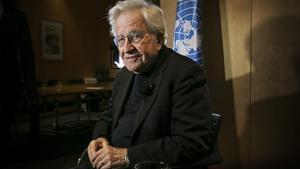 El lingüista y filósofo estadounidense, Noam Chomsky, en Barcelona.