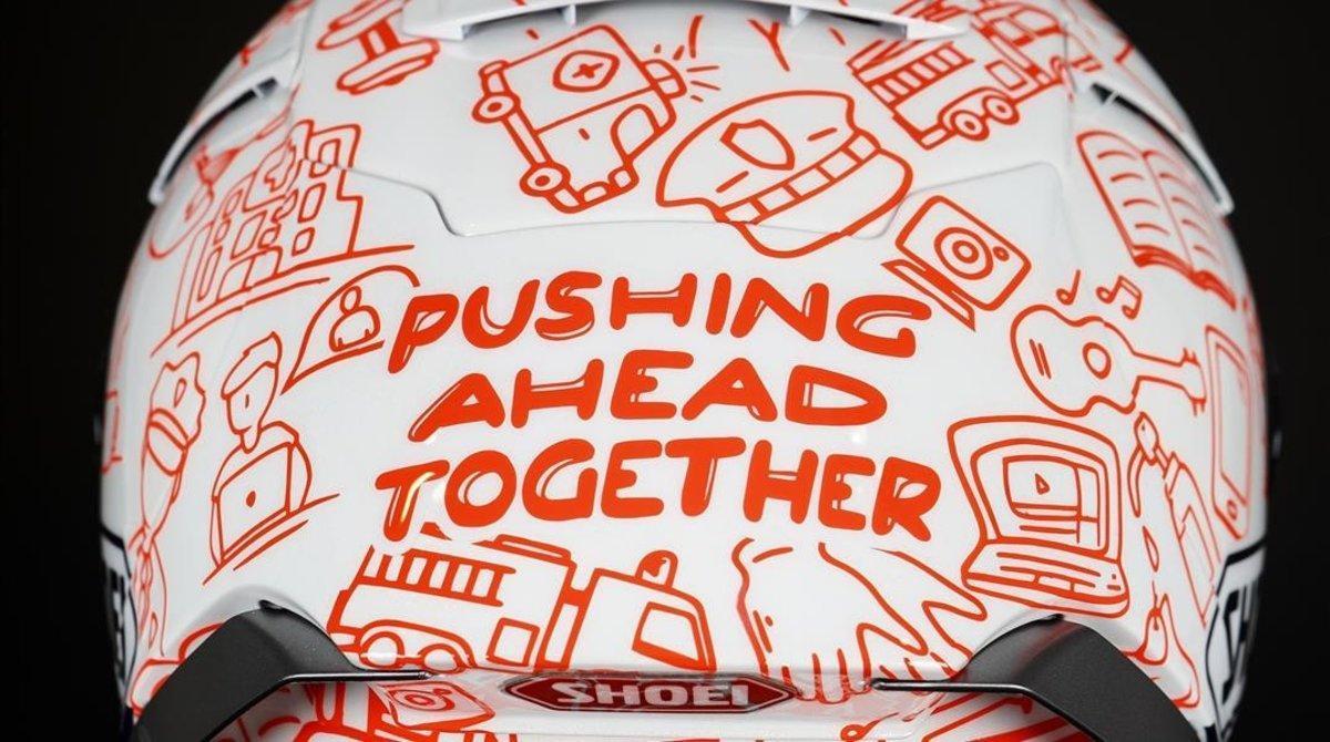 Empujando juntos, el lema que Marc y Àlex Márquez lucirán, en Jerez, en sus cascos solidarios.