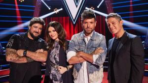 Antonio Orozco, Laura Pausini, Pablo López y Alejandro Sanz en el plató de 'La voz'.