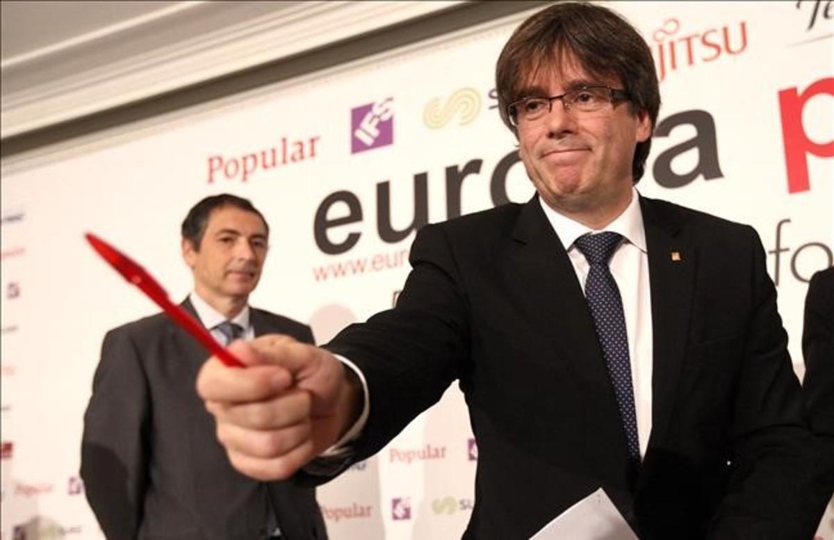 El 'president' Carles Puigdemont, durante el desayuno informativo que ha ofrecido este lunes en Madrid.