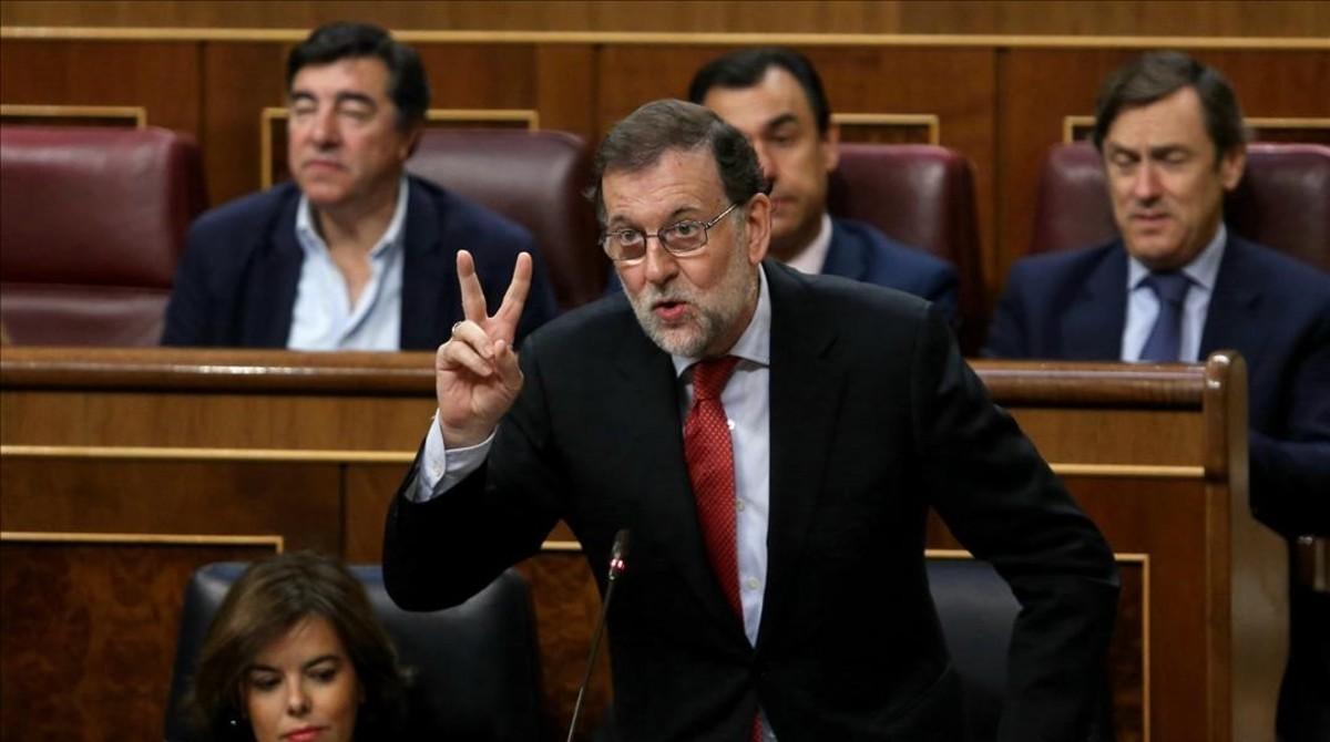 El presidente del Gobierno, Mariano Rajoy, este miércoles en la sesión de control al Ejecutivo.