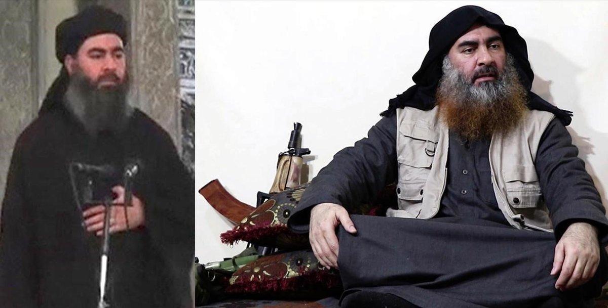 La imagen de la derecha deAbu Bakr al Baghdadi, pertenece a julio del 2014 y la de la izquierda a abril del 2019.