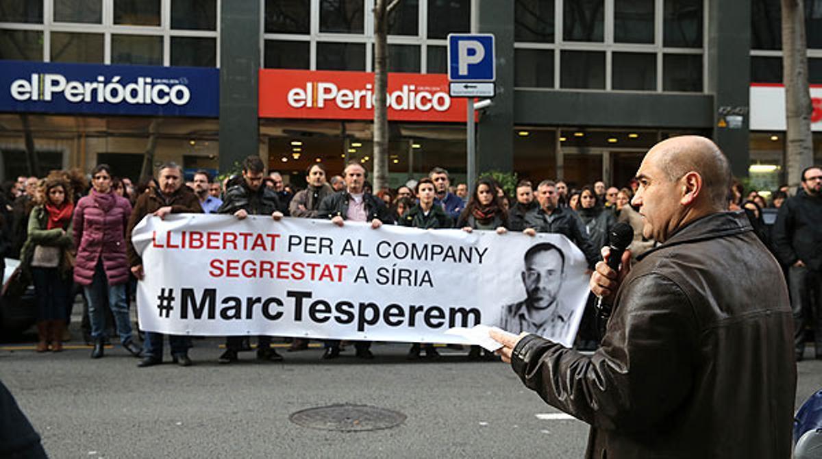 Nueva concentración de apoyo a Marc Marginedas, periodista de EL PERIÓDICO secuestrado en Siria.