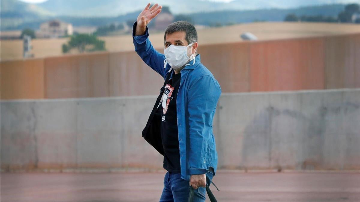 Jordi Sànchez sale de la prisión de Lledoners en un permiso, el pasado 1 de junio