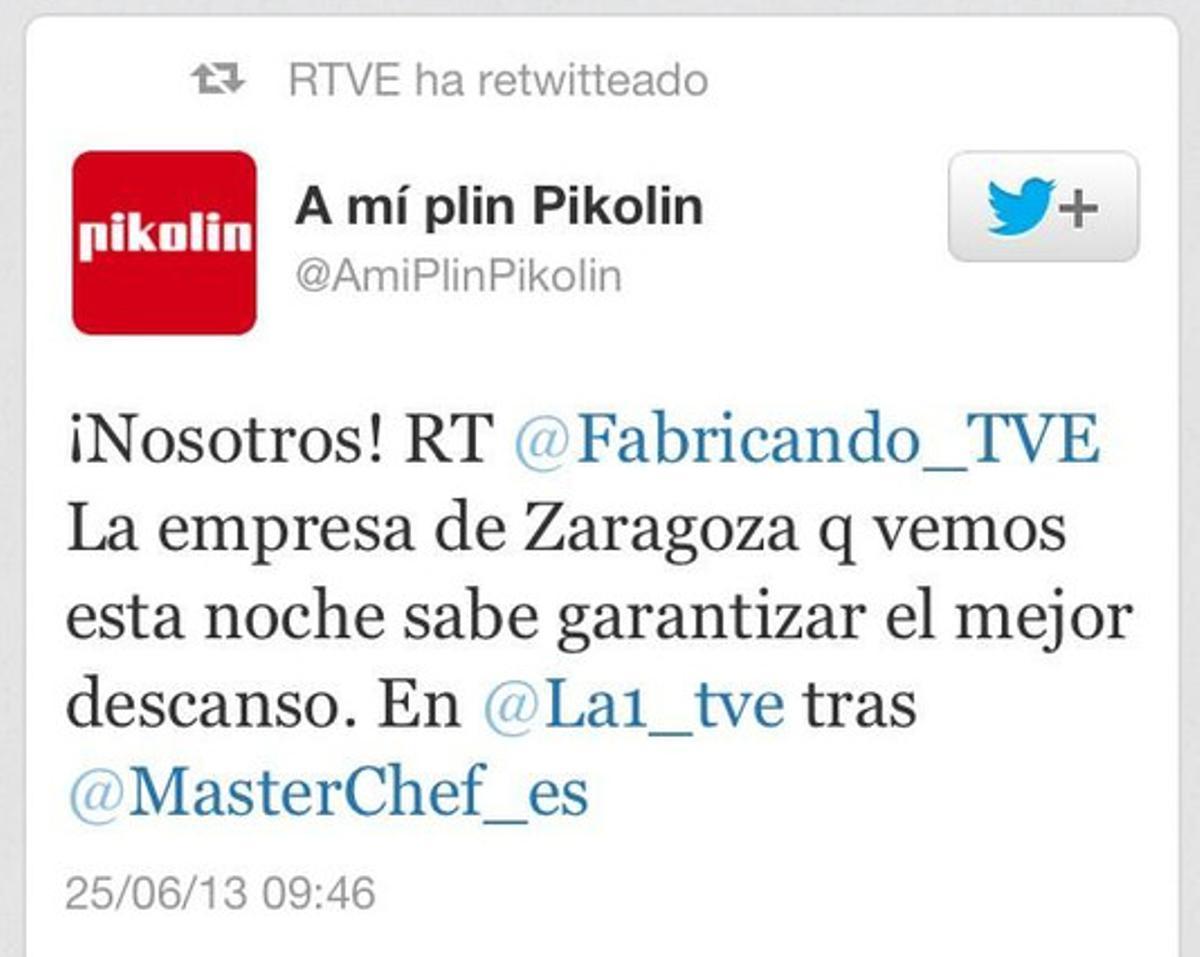 RTVE ha retuiteado contenidos publicitarios.