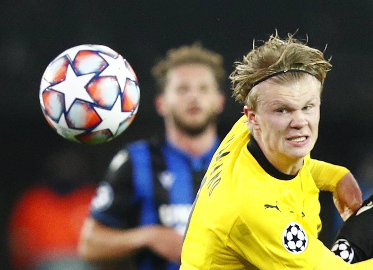 Haaland, en un partido con el Dortmund.