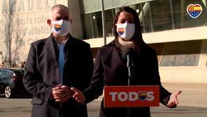 La líder de Cs, Inés Arrimadas, y el candidato naranja a las elecciones del 14-F, Carlos Carrizosa.