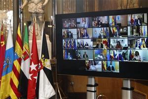 Imagen de la Conferencia de presidentes autonómicos que se celebró por vía telemática el 26 de octubre en el Senado.