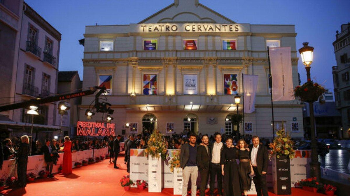 La alfombra roja del Teatro Cervantes en un reciente Festival de Málaga.