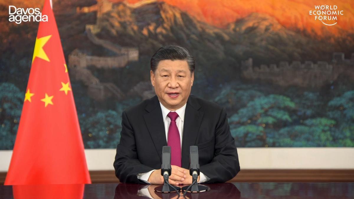 El presidente chino, Xi Jinping, durante su intervención telemática en el Fórum Económico Mundial de Davos.