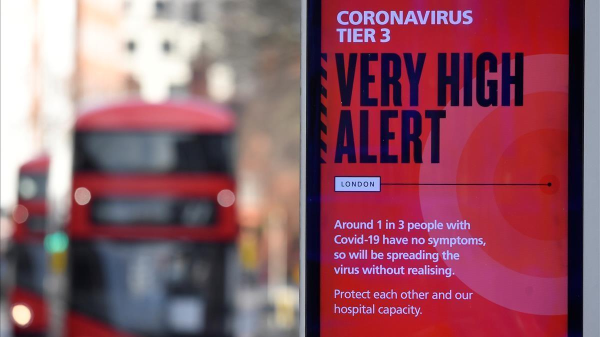Campaña de información del Gobierno británico para evitar la propagación del covid-19.