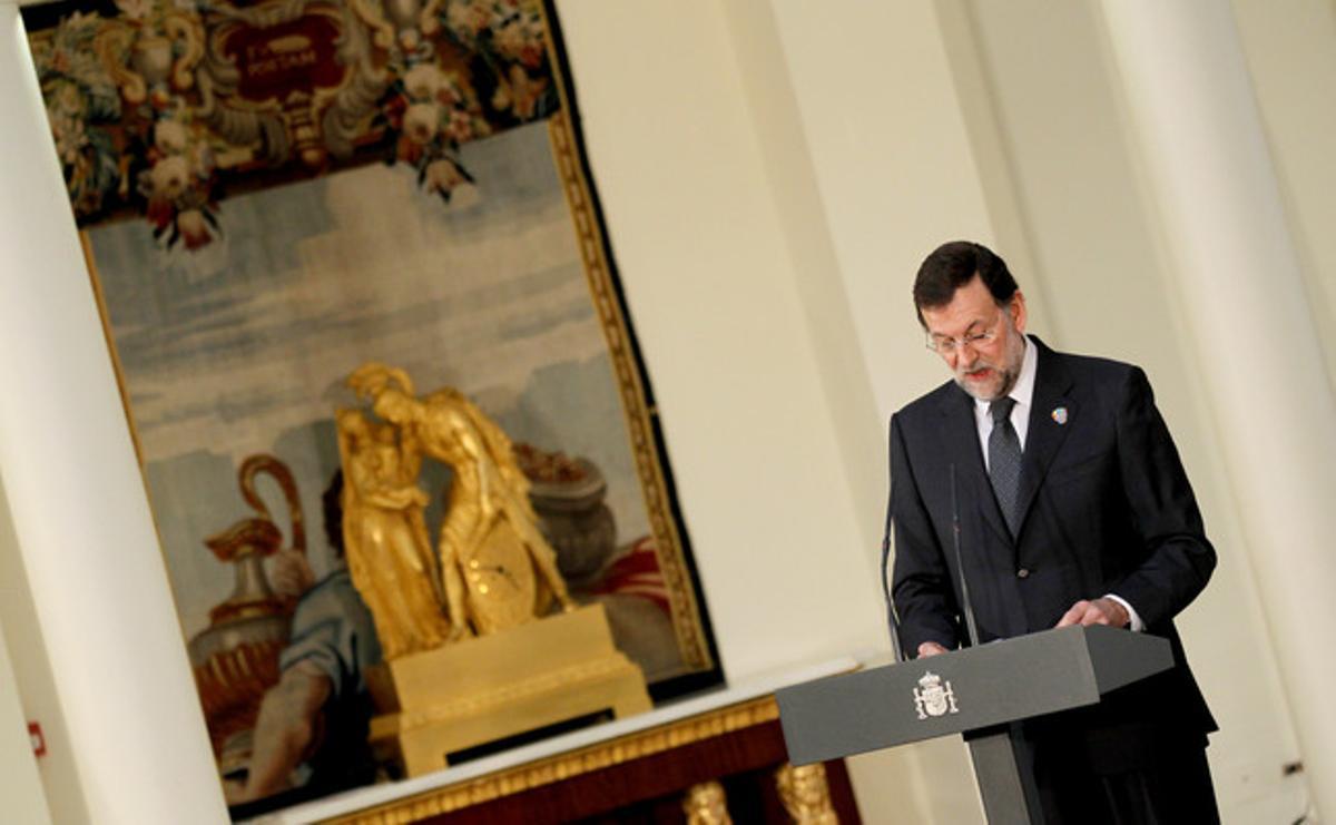 El presidente del Gobierno, Mariano Rajoy, este miércoles en Madrid.