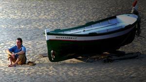Artur Mas, en la playa de Vilassar de Mar.