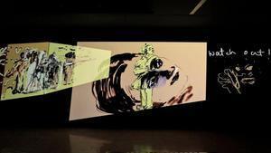 Animaciones de Nalini Malani incluidas en la muestra.