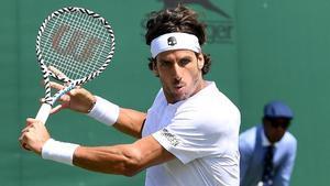 Feliciano López, en su debut en Wimbledon 2019, ante Marcos Giron.