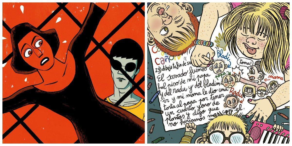Ilustraciones para la dobble portada de la publicación de los premios de la ACDCómic de Pep Brocal (izquierda) y ArohaTravé.