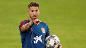 Sergio Ramos, en un entrenamiento.