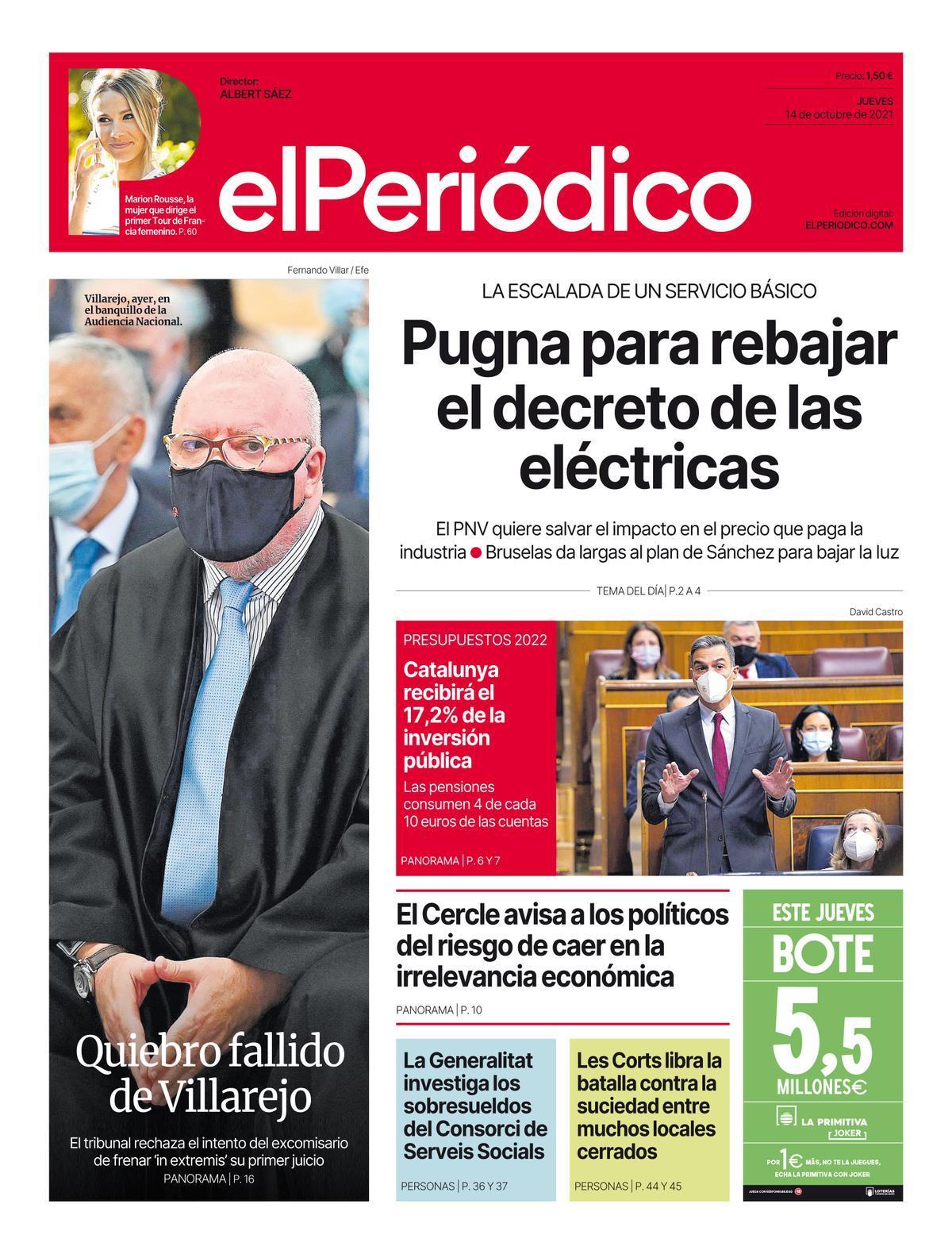 La portada de EL PERIÓDICO del 14 de octubre del 2021
