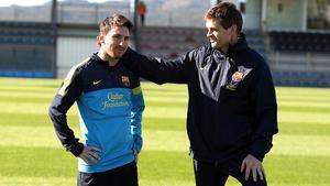 Messi y Tito, en la ciudad deportiva de Sant Joan Despí, a finales del 2012.