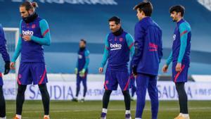 Messi, en el entrenamiento del Barça en Córdoba previo a la semifinal.