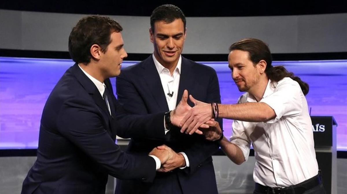 Albert Rivera, Pedro Sánchez y Pablo Iglesias, en un debate televisivo.