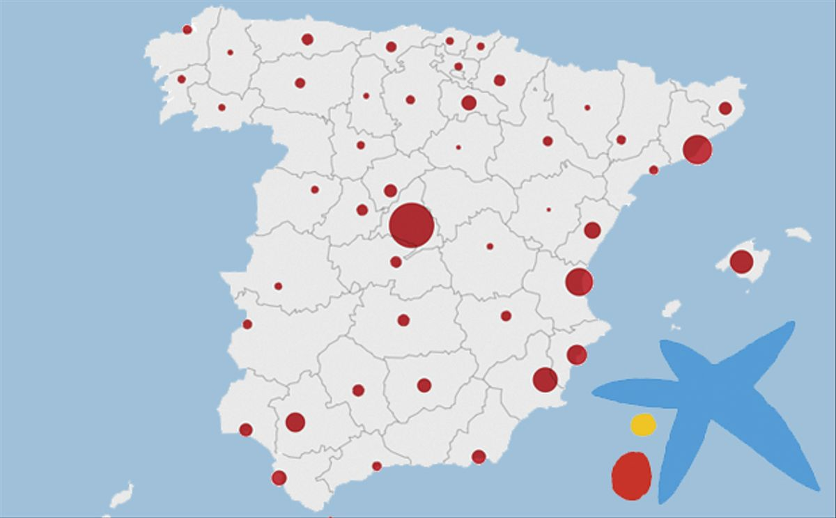 Mapa dels acomiadaments de CaixaBank per províncies