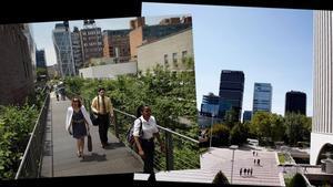 La High Line de Nueva York (izquierda) y el barrio de Azca de Madrid.