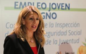 La vicepresidenta tercera, Yolanda Díaz, en un acto de Inspección de Trabajo.