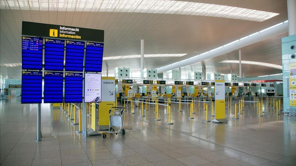 La Terminal 1 del Aeropuerto de Barcelona, este lunes 11 de mayo