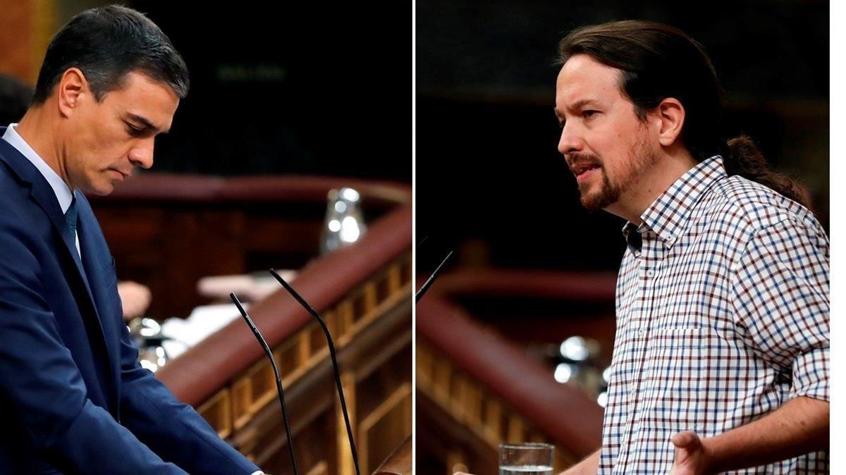 Combo de Pedro Sánchez y Pablo Iglesias durante el debate de investidura que se saldócon la segunda votación fallida para el socialista.