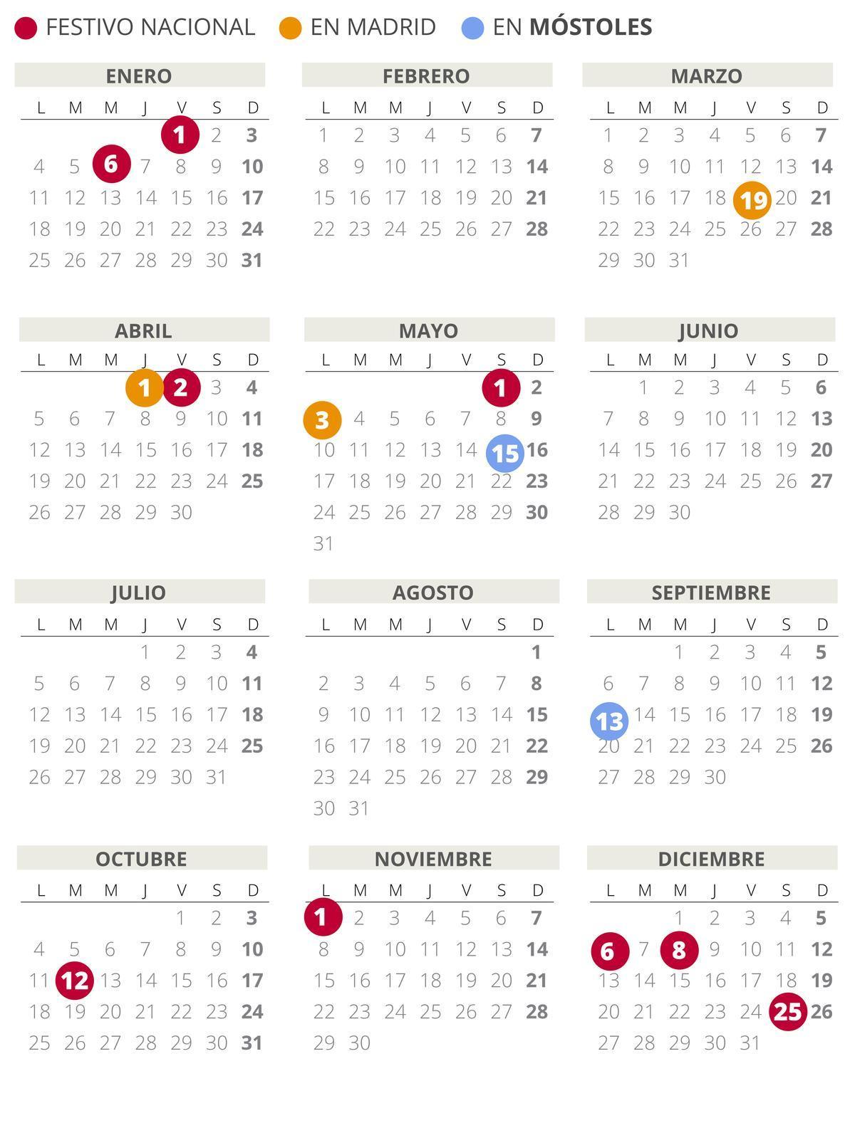 Calendario laboral de Móstoles del 2021 (con todos los festivos)