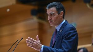 El presidente del Gobierno, Pedro Sánchez, este 8 de septiembre durante el pleno extraordinario en el Senado.