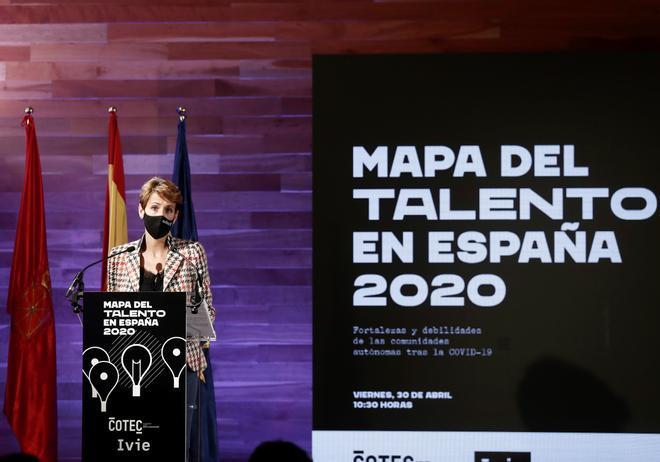 La presidenta del Gobierno de Navarra, María Chivite, durante la presentación del informe 'Mapa del talento autonómico'.