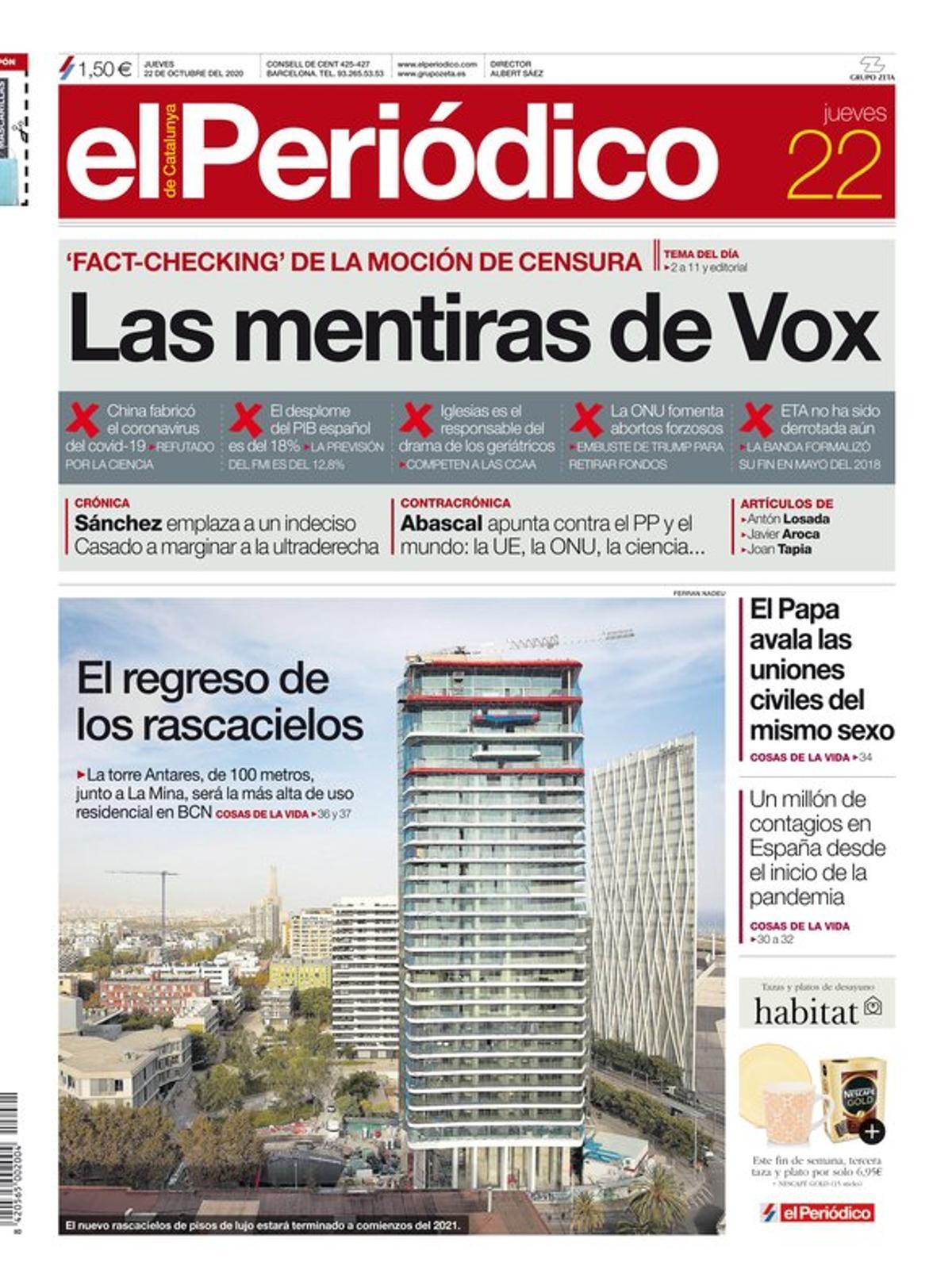 La portada de EL PERIÓDICO del 22 de octubre del 2020.