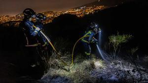 Los bomberos trabajan en la extinción de un incendio en Collserola.