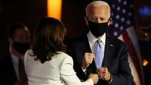 Joe Biden y Kamala Harris, en la noche de la celebración electoral.
