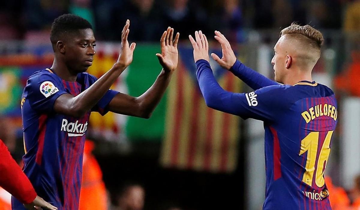 Deulofeu cede su sitio a Dembélé en el Barça-Espanyol.