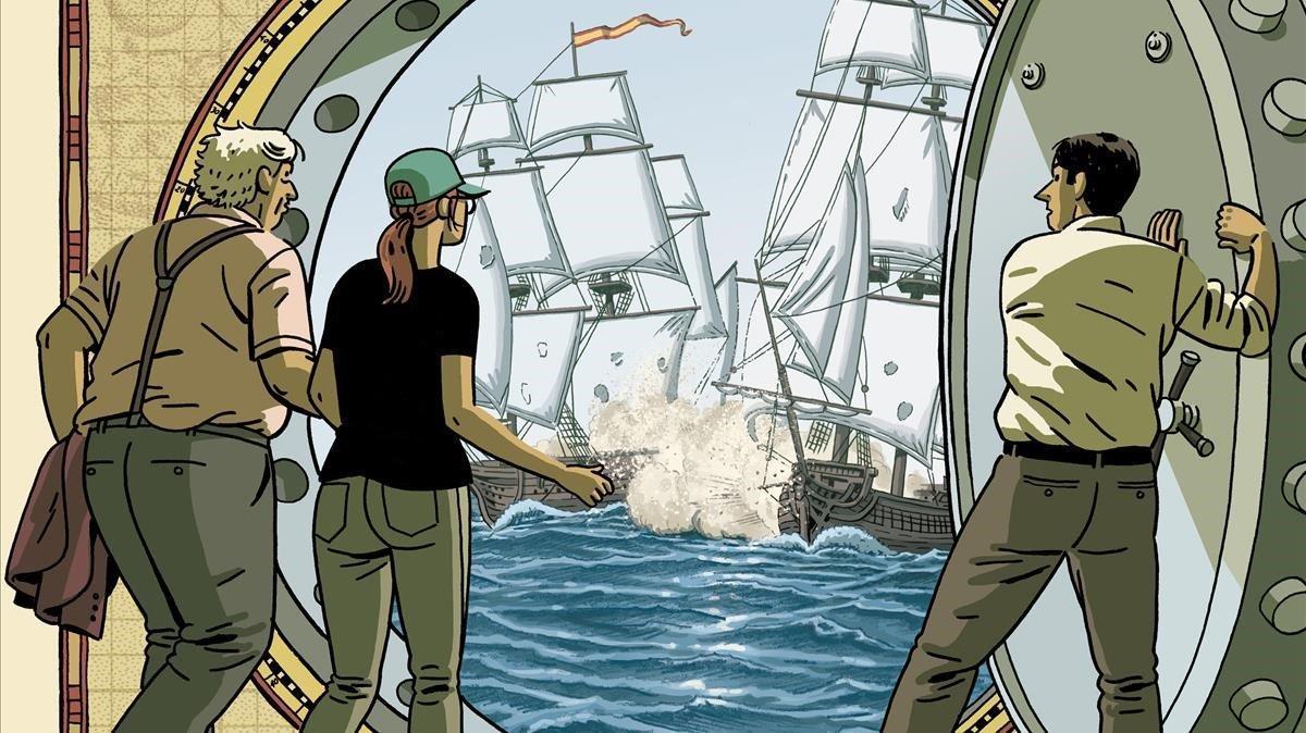 Fragmento de la portada de 'El tesoro del Cisne Negro', de Paco Roca y Guillermo Corral.