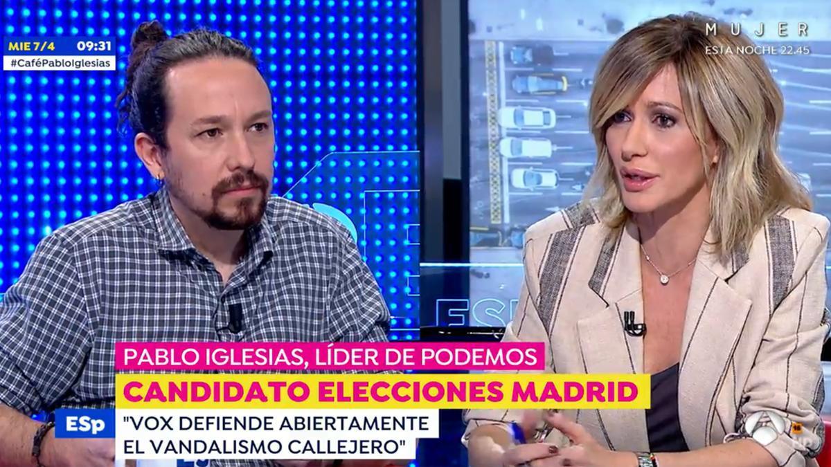 """Pablo Iglesias, molesto por una pregunta de Susanna Griso en 'Espejo público': """"Eso no es cierto"""""""