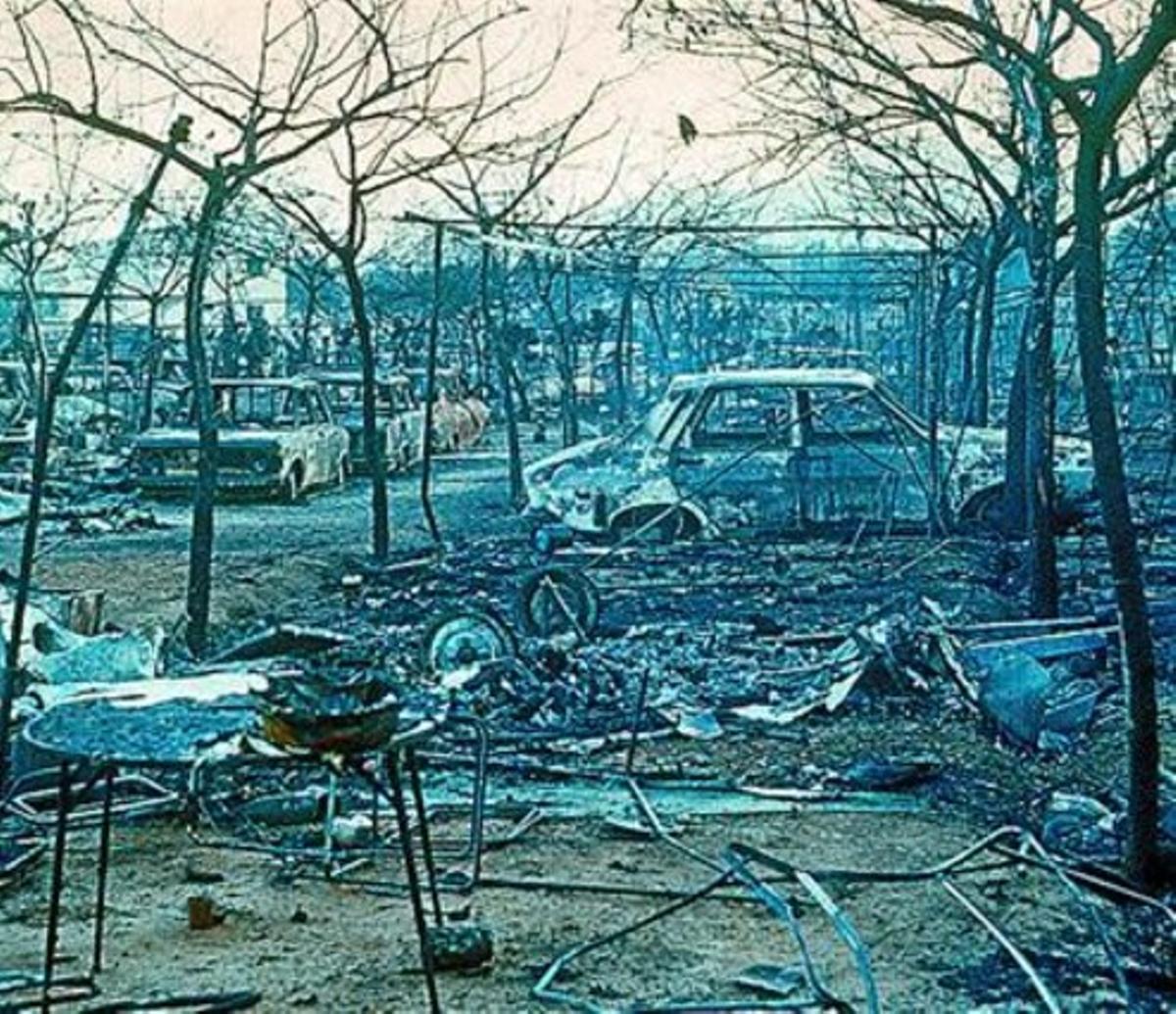 Estado en el que quedó el recinto tras el accidente de 1978.