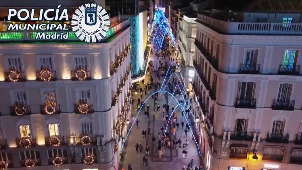Imágenes de dron de la afluencia de gente al centro de Madrid el 28 y 29 de noviembre del 2020.