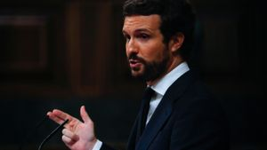 Pablo Casado, leader of Popular Party (PP) speaks during a session at Parliament in Madrid