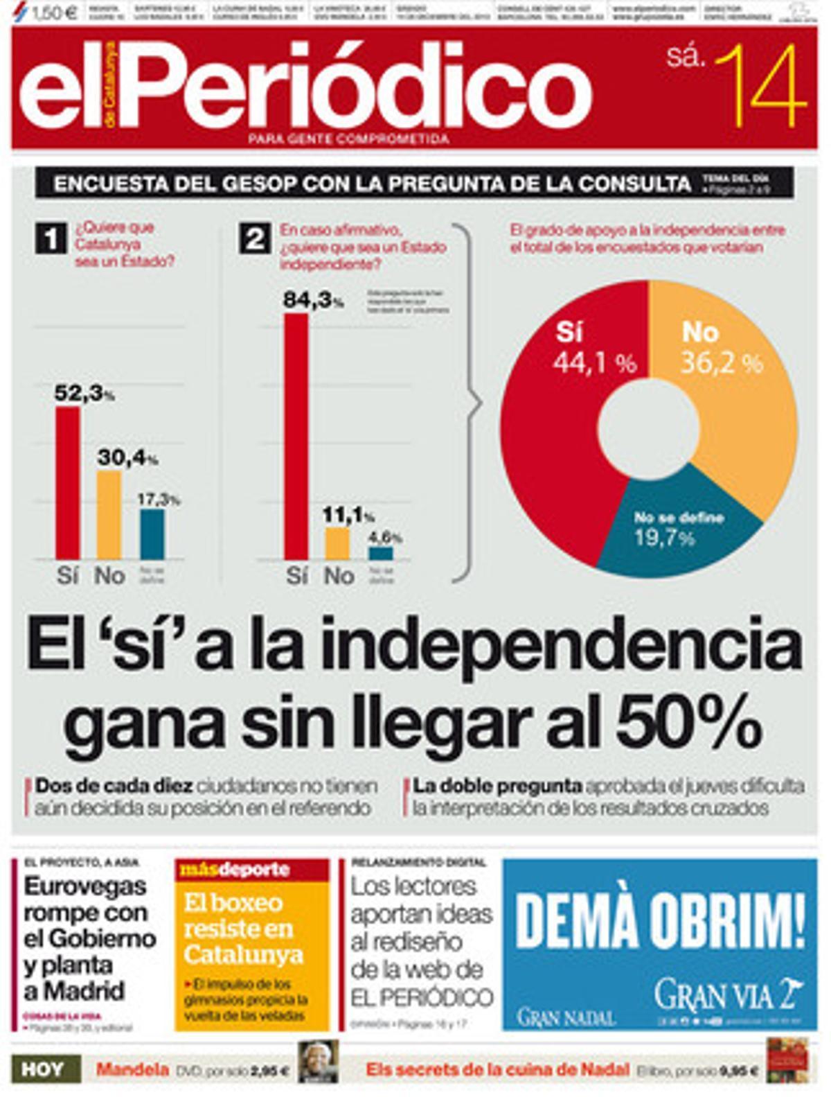 La portada de EL PERIÓDICO (14-12-2013).