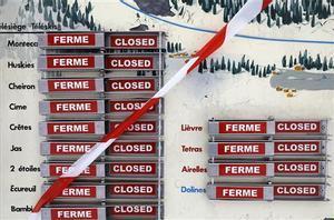 Estación de esquí de Greolieres-les Neiges cerrada.