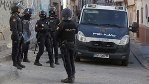 Redada de la Policía Nacional contra el narcotráfico en Algeciras, el pasado mes de marzo.