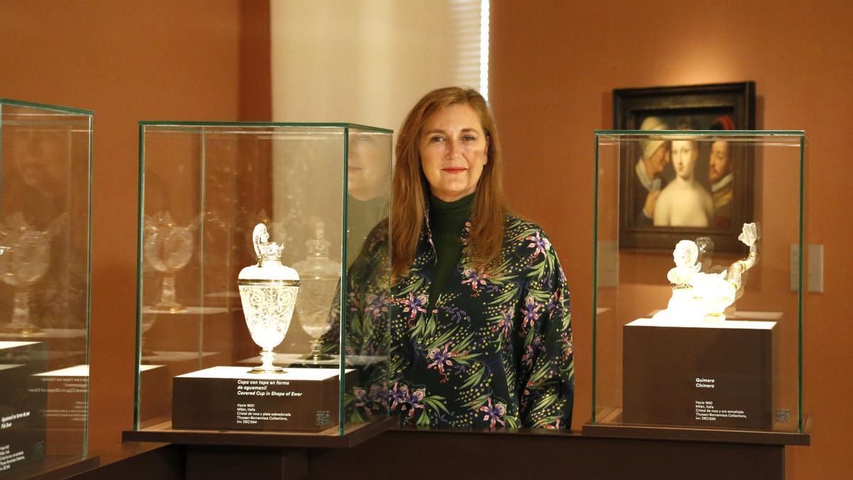 Francesca Thyssen, hija del barón Thyssen y Fiona Campbell-Walter, en la inauguración de la muestra 'Tesoros de la colección Thyssen-Bornemisza', en Madrid, el lunes pasado.