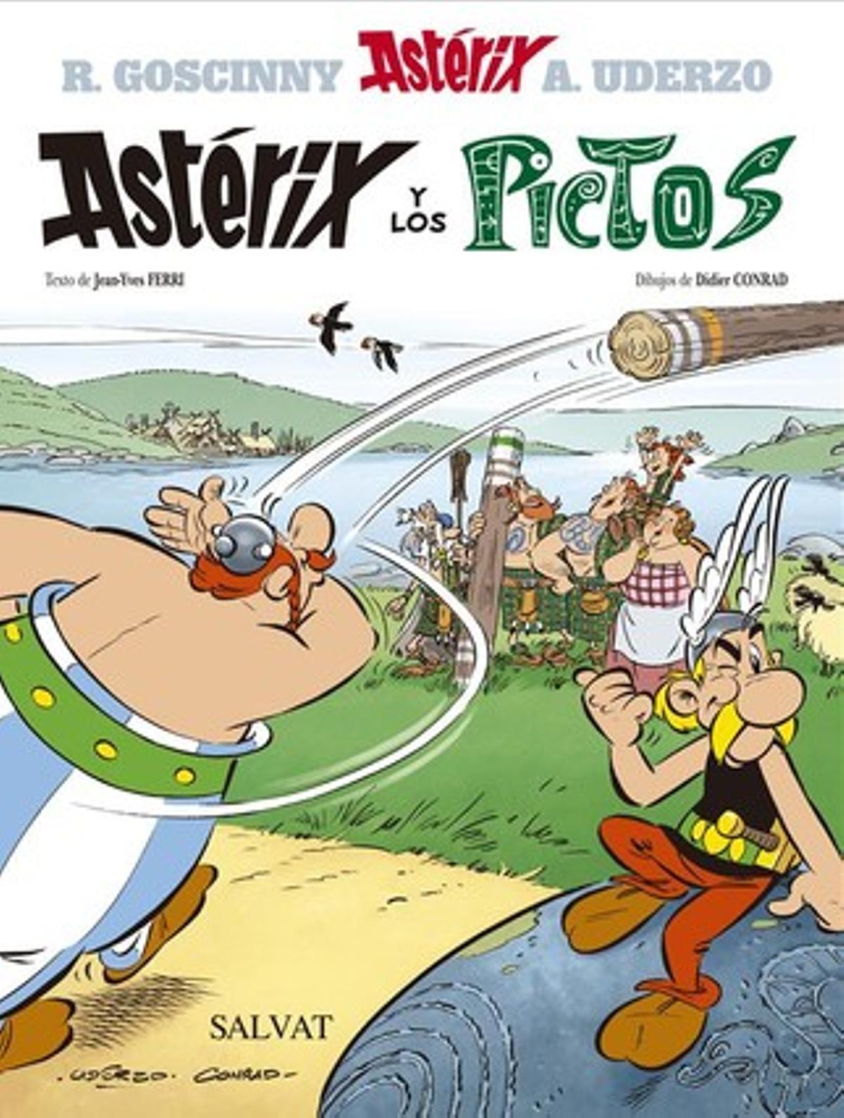Portada del ejemplar en castellano de 'Astérix y los pictos', desvelado esta mañana en París.