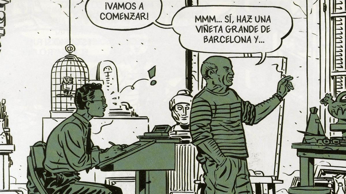 Viñeta de 'Picasso en la guerra civil', con el artista malagueño y el dibujante al que le encarga una historieta.